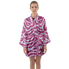 Skin2 White Marble & Pink Denim Long Sleeve Kimono Robe