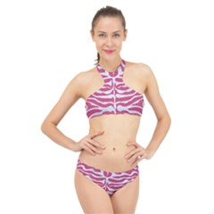 Skin2 White Marble & Pink Denim High Neck Bikini Set by trendistuff