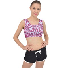 Skin2 White Marble & Pink Denim V Back Sports Bra by trendistuff