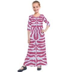 Skin2 White Marble & Pink Denim Kids  Quarter Sleeve Maxi Dress by trendistuff