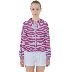 Skin2 White Marble & Pink Denim Women s Tie Up Sweat