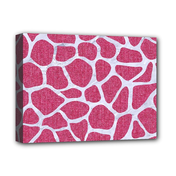 SKIN1 WHITE MARBLE & PINK DENIM (R) Deluxe Canvas 16  x 12