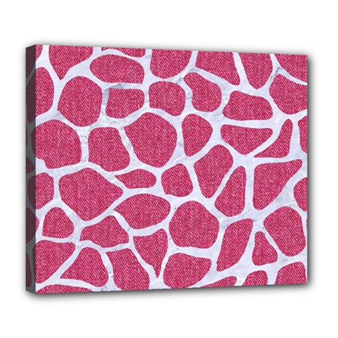 SKIN1 WHITE MARBLE & PINK DENIM (R) Deluxe Canvas 24  x 20