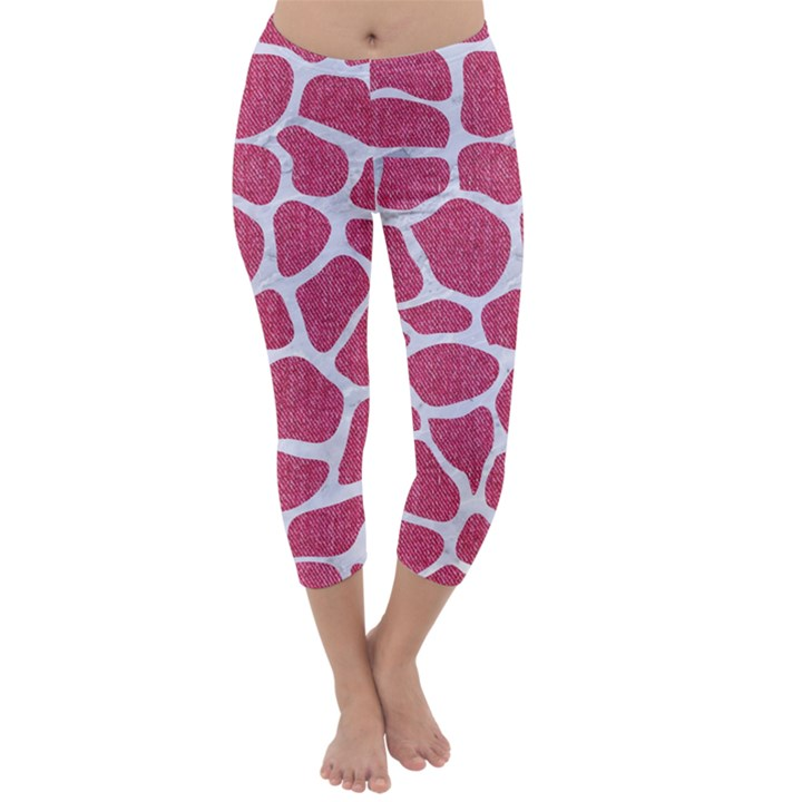 SKIN1 WHITE MARBLE & PINK DENIM (R) Capri Winter Leggings