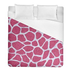 Skin1 White Marble & Pink Denim (r) Duvet Cover (full/ Double Size) by trendistuff