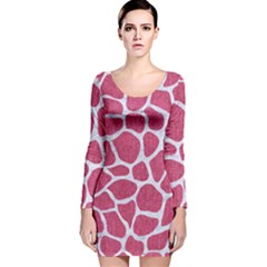 Skin1 White Marble & Pink Denim (r) Long Sleeve Velvet Bodycon Dress