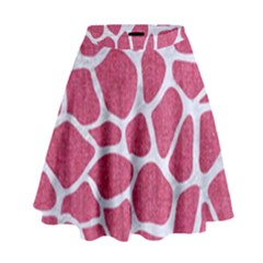 Skin1 White Marble & Pink Denim (r) High Waist Skirt