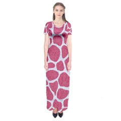 Skin1 White Marble & Pink Denim (r) Short Sleeve Maxi Dress