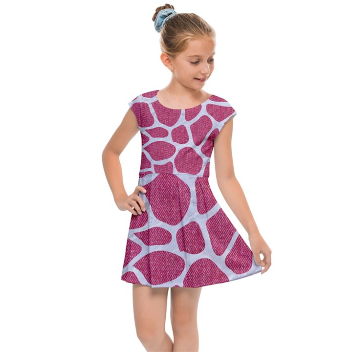 SKIN1 WHITE MARBLE & PINK DENIM (R) Kids Cap Sleeve Dress