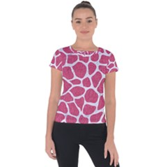 Skin1 White Marble & Pink Denim (r) Short Sleeve Sports Top