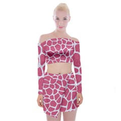 SKIN1 WHITE MARBLE & PINK DENIM (R) Off Shoulder Top with Mini Skirt Set