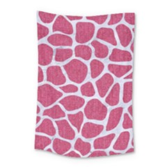 SKIN1 WHITE MARBLE & PINK DENIM (R) Small Tapestry