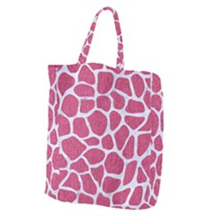 SKIN1 WHITE MARBLE & PINK DENIM (R) Giant Grocery Zipper Tote