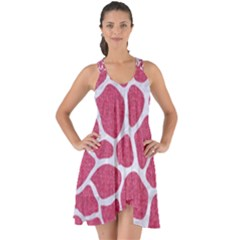 Skin1 White Marble & Pink Denim (r) Show Some Back Chiffon Dress