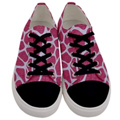 Skin1 White Marble & Pink Denim (r) Men s Low Top Canvas Sneakers
