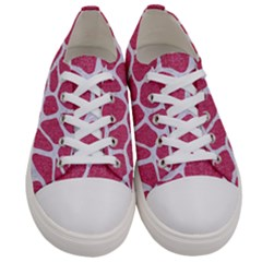 Skin1 White Marble & Pink Denim (r) Women s Low Top Canvas Sneakers