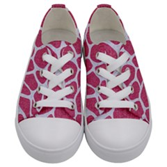 Skin1 White Marble & Pink Denim (r) Kids  Low Top Canvas Sneakers