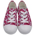 SKIN1 WHITE MARBLE & PINK DENIM (R) Kids  Low Top Canvas Sneakers View1