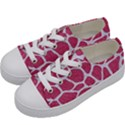 SKIN1 WHITE MARBLE & PINK DENIM (R) Kids  Low Top Canvas Sneakers View2