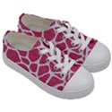 SKIN1 WHITE MARBLE & PINK DENIM (R) Kids  Low Top Canvas Sneakers View3