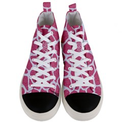 Skin1 White Marble & Pink Denim (r) Men s Mid Top Canvas Sneakers