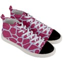 SKIN1 WHITE MARBLE & PINK DENIM (R) Men s Mid-Top Canvas Sneakers View3