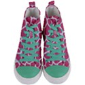 SKIN1 WHITE MARBLE & PINK DENIM (R) Women s Mid-Top Canvas Sneakers View1