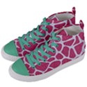SKIN1 WHITE MARBLE & PINK DENIM (R) Women s Mid-Top Canvas Sneakers View2