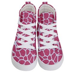 Skin1 White Marble & Pink Denim (r) Kid s Hi Top Skate Sneakers