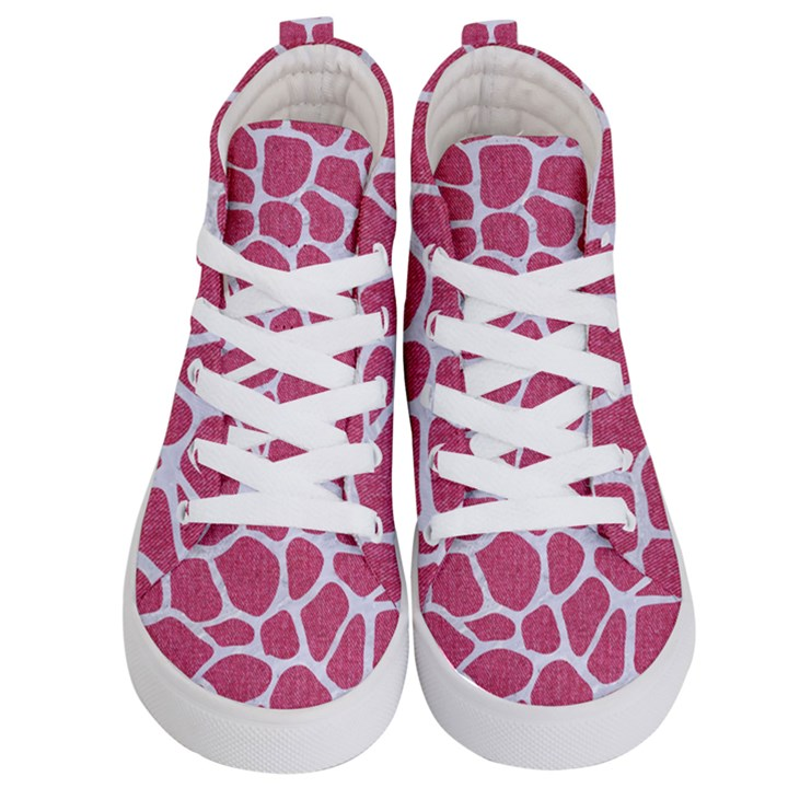 SKIN1 WHITE MARBLE & PINK DENIM (R) Kid s Hi-Top Skate Sneakers