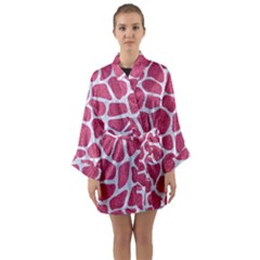 Skin1 White Marble & Pink Denim (r) Long Sleeve Kimono Robe
