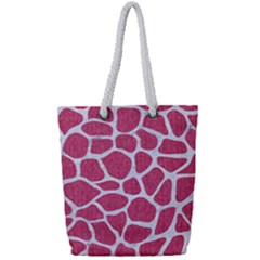 SKIN1 WHITE MARBLE & PINK DENIM (R) Full Print Rope Handle Tote (Small)