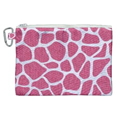 Skin1 White Marble & Pink Denim (r) Canvas Cosmetic Bag (xl)