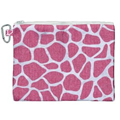 SKIN1 WHITE MARBLE & PINK DENIM (R) Canvas Cosmetic Bag (XXL)