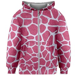 Skin1 White Marble & Pink Denim (r) Kids Zipper Hoodie Without Drawstring