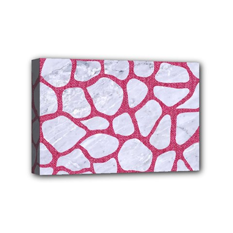Skin1 White Marble & Pink Denim Mini Canvas 6  X 4