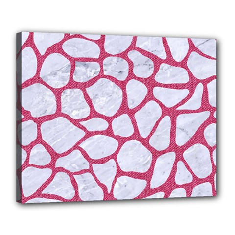 Skin1 White Marble & Pink Denim Canvas 20  X 16  by trendistuff