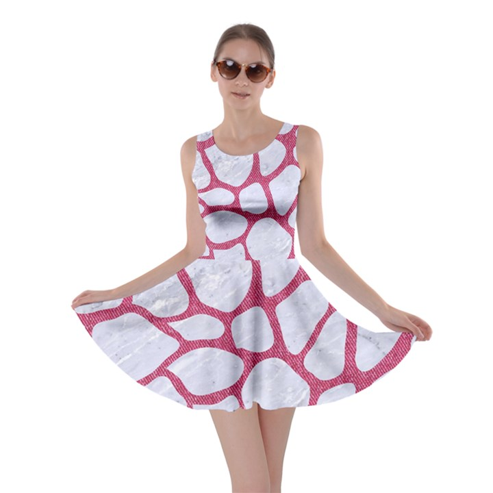 SKIN1 WHITE MARBLE & PINK DENIM Skater Dress