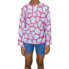 Skin1 White Marble & Pink Denim Kids  Long Sleeve Swimwear by trendistuff