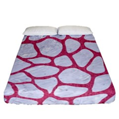Skin1 White Marble & Pink Denim Fitted Sheet (queen Size)