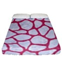 SKIN1 WHITE MARBLE & PINK DENIM Fitted Sheet (Queen Size) View1
