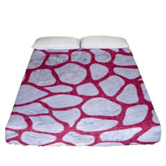 Skin1 White Marble & Pink Denim Fitted Sheet (california King Size)