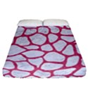 SKIN1 WHITE MARBLE & PINK DENIM Fitted Sheet (California King Size) View1