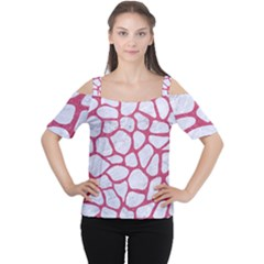 Skin1 White Marble & Pink Denim Cutout Shoulder Tee