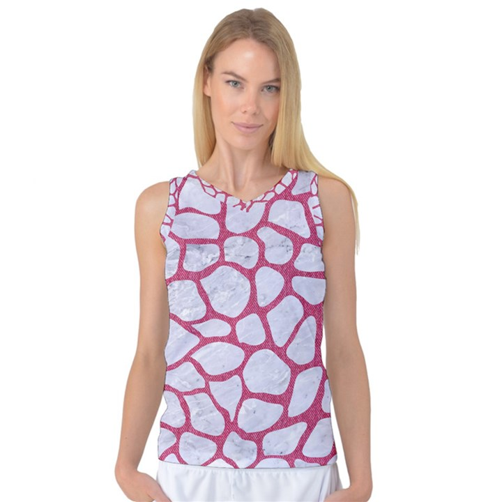 SKIN1 WHITE MARBLE & PINK DENIM Women s Basketball Tank Top