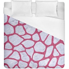 Skin1 White Marble & Pink Denim Duvet Cover (king Size) by trendistuff
