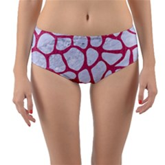 Skin1 White Marble & Pink Denim Reversible Mid Waist Bikini Bottoms by trendistuff