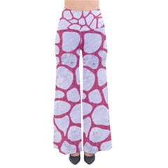 Skin1 White Marble & Pink Denim So Vintage Palazzo Pants