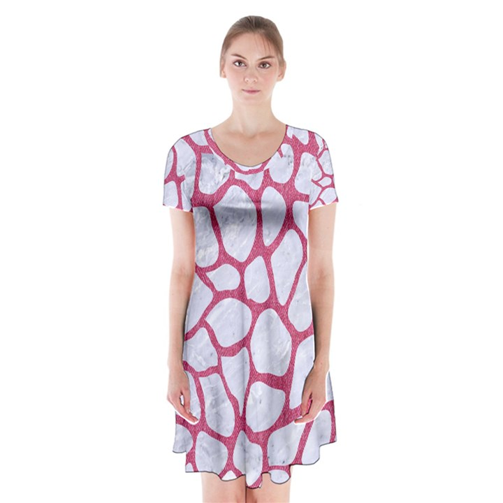 SKIN1 WHITE MARBLE & PINK DENIM Short Sleeve V-neck Flare Dress