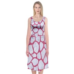 Skin1 White Marble & Pink Denim Midi Sleeveless Dress